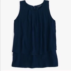 J. Crew Navy Tiered Crepe Silky Tank Blouse